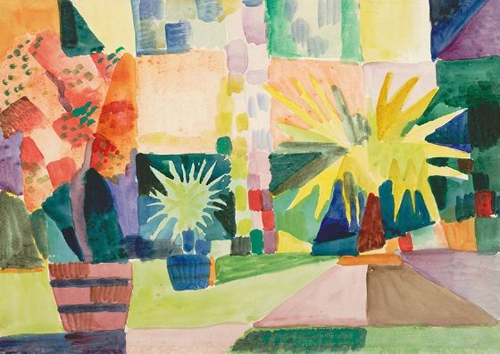 Macke, August: Garden on Lake Thun (Pomegranate Tree and Palm in the Garden). Fine Art Print/Poster. Sizes: A4/A3/A2/A1 (002179)